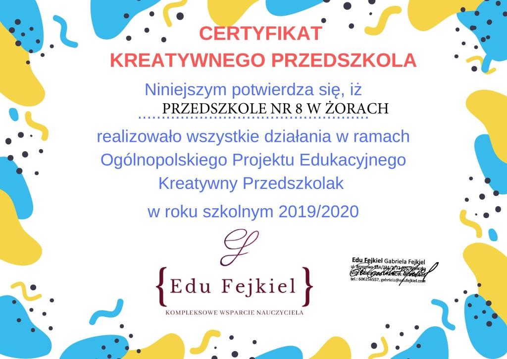 certyfikat kreatywnego przedszkola